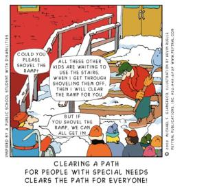 UDL-cartoon, shovel the ramp